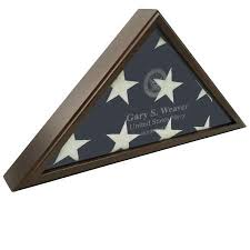 Sergeant Laser Engraved Flag Display Case American Made Military Veterans Law Enforcement Cherry Oak Gunmetal Gray