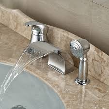 Bathtub Faucet Dripping From Spout by Modern Waterfall Curve Spout Font Roman Tub Faucet Deck Bathtub