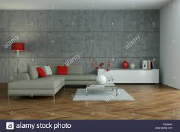 modernes wohnzimmer innenausbau mit beton wand 3d