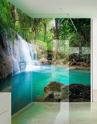 Paradise Waterfalls Printed Picture Acrylic Shower Panel
