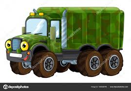 Cartoon Happy And Funny Military Truck — Stock Photo ...