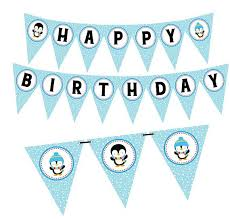 Penguin Birthday Banner Winter Wonderland Boy Happy Sign