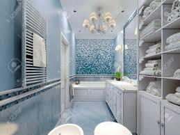 geräumige blauen bad klassischen stil badewanne wc bidet weiße möbel große luxuriöse kronleuchter weiße decke mischen gips und fliesen 3d