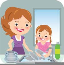 Kids Washing Dishes Clipart Image