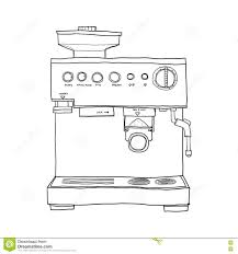 Download Coffee Maker Hand Drawn Line Art Illustration Stock
