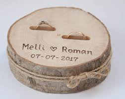 Rustic Ring Bearer Pillow Wedding Wood Slice Box Birch Decoration