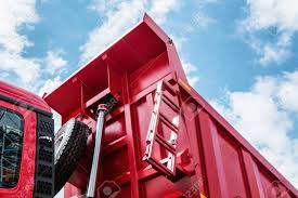 Raised Body Red Dump Truck To Remove Soil Stock Photo, Picture And ...
