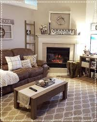 Cozy Living Room Brown Couch Decor Ladder Winter
