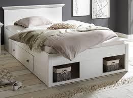 bett hooge in pinie weiß landhaus stauraumbett mit 2 x bettschubkasten liegefläche 140 x 200 cm