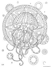 Jellyfish With Tribal Pattern Adults Coloring Pages Printable