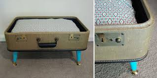 vintage suitcase cat bed  fancy seeing you here