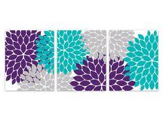 Home Decor Wall Art CANVAS Purple And Teal Flower Burst Bathroom Turquoise Bedroom