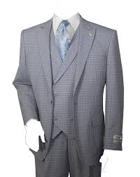 1930s Style Mens Suits 3 Piece Single Button Mini Plaid Pattern Suit Gray