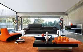 Modern Living Room With Orange Interior