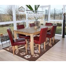 6x esszimmerstuhl stuhl küchenstuhl littau kunstleder rot helle beine