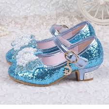 2016 sparking glitter children girls high heels dance shoes