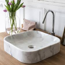 vasque à poser marbre l 40 x p 40 cm blanc tikamoon perseus
