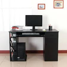 Black Gloss Corner Computer Desk desk homcom high gloss computer desk hollow core hobby corner