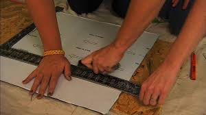 diy herringbone tile floor using peel stick vinyl knock it
