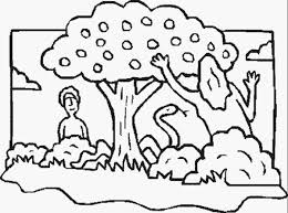 Adam And Eve With The Serpent Near Forbidden Tree In Garden Of Eden Coloring Page