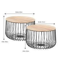 couchtisch 2er set beistelltisch wohnzimmer sofa metallkorb