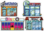 Illustration Of A Musical Store Travel Agent Office Disco House And Pet Shop