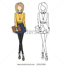 Fashion Sketch Drawing Girls In Beautiful Looks Hand Drawn Set Of Outfits Illustration