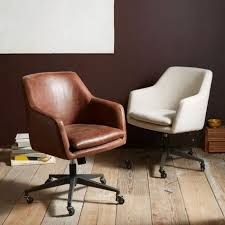 slope leather swivel office chair west elm regarding attractive