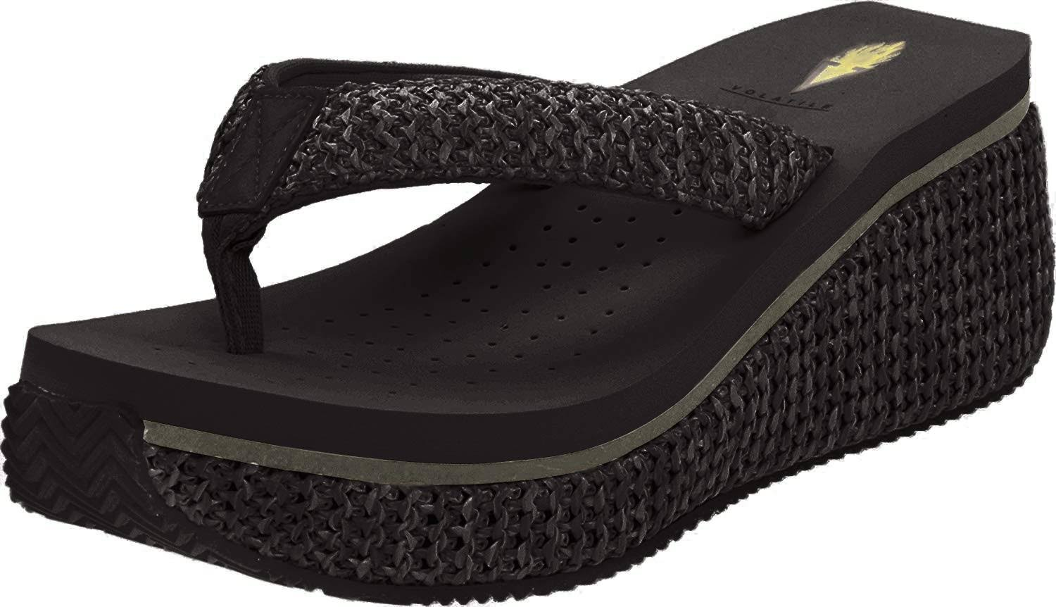 Volatile Women's Island Wedge Sandals - Black, 8 USW