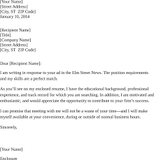 Sample Resume Cover Letter In Response To A Job Advertisement