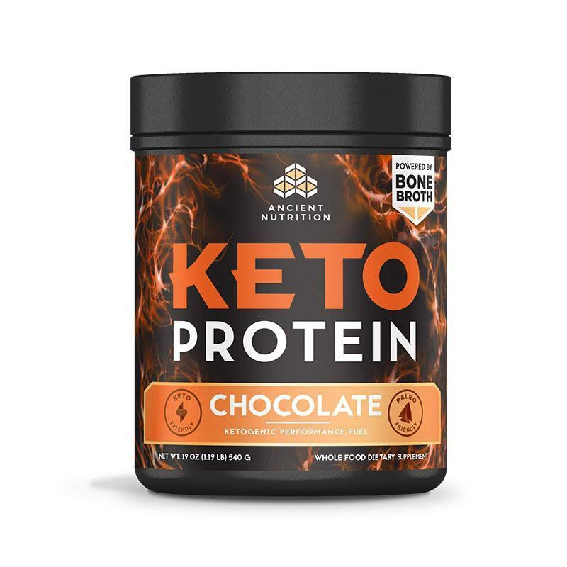Ancient Nutrition Ketogenic Protein Powder, Chocolate - 19 oz canister