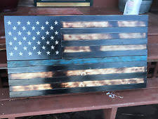 Rustic Wood American Flag BLUE LINE Wall Art House Decor Reclaimed Pallet Aged