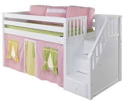 Bedroom Graceful GREAT Low Loft Bed With Staircase White Finish
