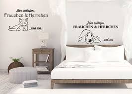 wandtattoo schlafzimmer tiere hier schlafen frauchen herrchen und ich
