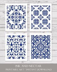 Attractive Design Blue Wall Art Decor Metal Abstract Rustic Coral Navy Print White