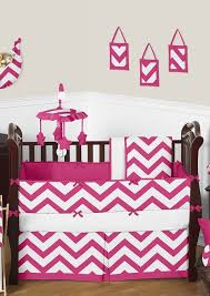 pink white chevron baby bedding crib set sweet jojo designs