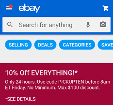 10% Everything 24 Hour Coupon - NO MINIMUM : Ebay 10 Off 50 Flash Sale On Ebay With Code Cfebflash10off Redemption Code Updated List For March 2019 Discount All Smartphones From 17 To 21 August I Have A Coupon For Off The Community 30 Targeted Ymmv Slickdealsnet Ebay 70 Mastrin 24 Fe Card Electronics Beats Headphones At Using Mastercard Genos Garage Inc Codes Bbb Coupons How To Get An Extra Margin On Free Coupon Codes Dropshipping 15 One Time Use Allows Coins This