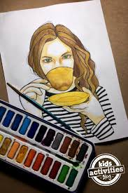 This Cafe Coloring Page Is A Wonderful Afternoon Activity As There Are Lots Of Details To Color Including The Hair Face And Coffee Cup