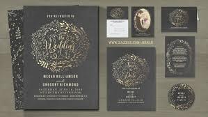 Gold Foil Floral Bouquet Chalkboard Wedding Invites
