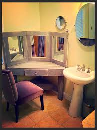 Bathroom Makeup Vanity Chair by Diy Pallet Wood Distressed Gray Corner Makeup Vanity With Mirrors