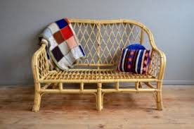 canapé sixties canapé banquette sofa rotin bambou osier vintage rétro ées 60
