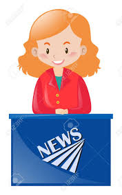 Female News Reporter At Desk Illustration Stock Vector