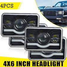 100 Kenworth Semi Trucks 4x 4x6 LED Rectangular Headlights For Peterbilt