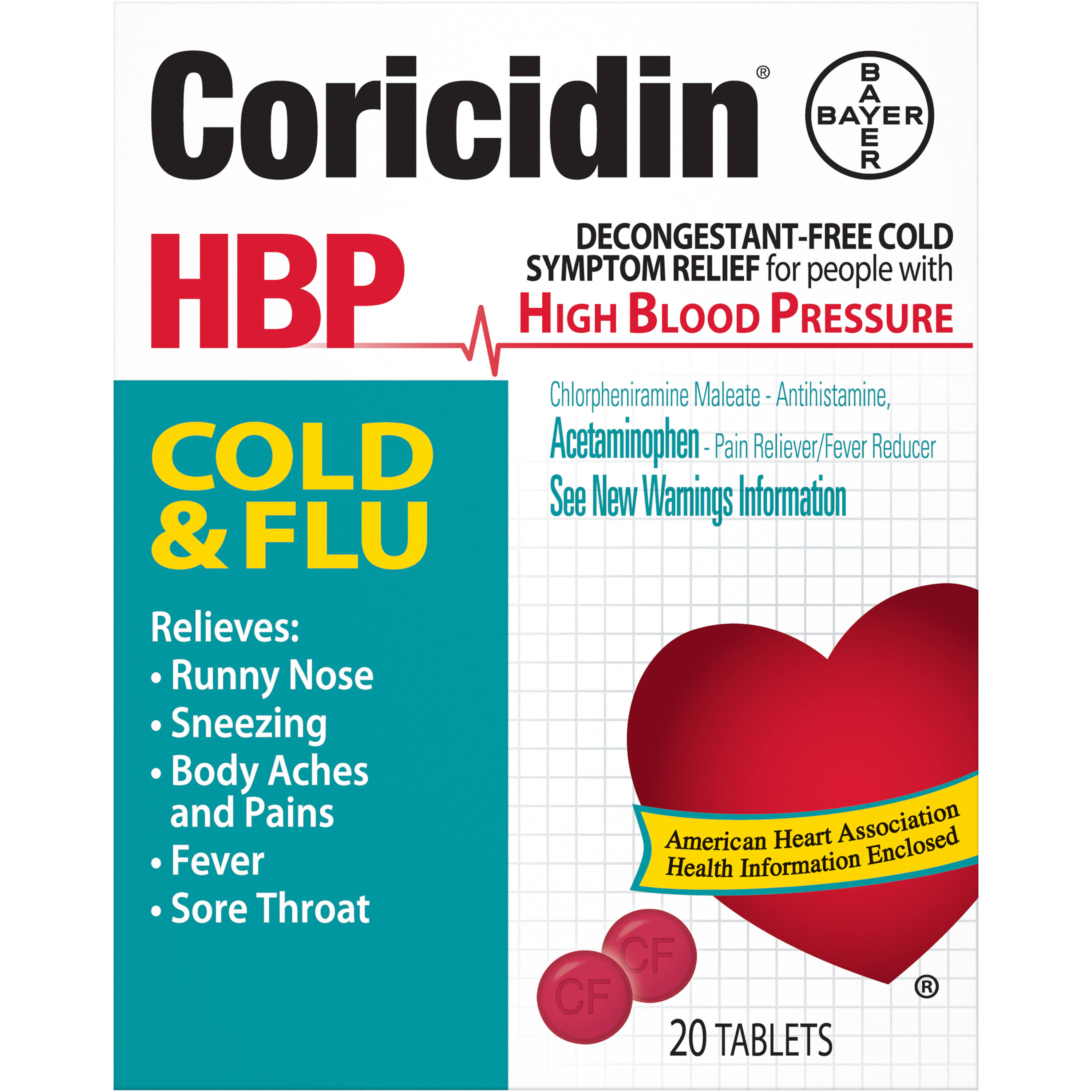 Bayer Coricidin Cold and Flu Tablets - 20 Pack
