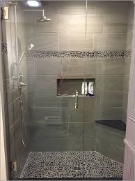 groutless shower tile 盪 inspire large charcoal black pebble tile
