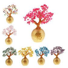 feng shui muti colors choice crytal gem money lucky tree pot
