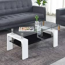 wohnzimmer tisch in weiß hochglanz klarglas und schwarzglasplatte