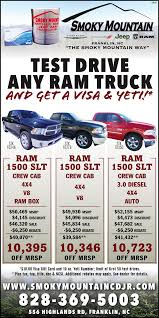 TEST DRIVE ANY RAM TRUCK AND GET A VISA & YET By Jacky Jones - Smoky ... Panic At The Dealership On Ram Trucks Youtube New 1500 Specials 2500 Truck Special Pricing Louie Herron Cdjr In Madison Ga Commercial Program Used Perry Ny Mcclurg Cdj Ram Month Mike Riehls Roseville Mi Chrysler Jeep Dodge Vehicles Rebates Best 2018 Test Drive Any Truck And Get A Visa Yet By Jacky Jones Smoky
