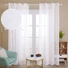 deconovo gardinen schals gardinen wohnzimmer modern mit ösen weiss transparent vorhang deko store weiß 240x140 cm weiß blatt 2er set