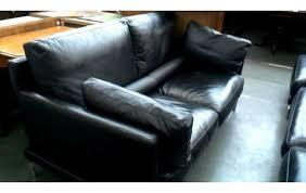 wohnzimmer grosses modell schwarz leder mit sitzkissen
